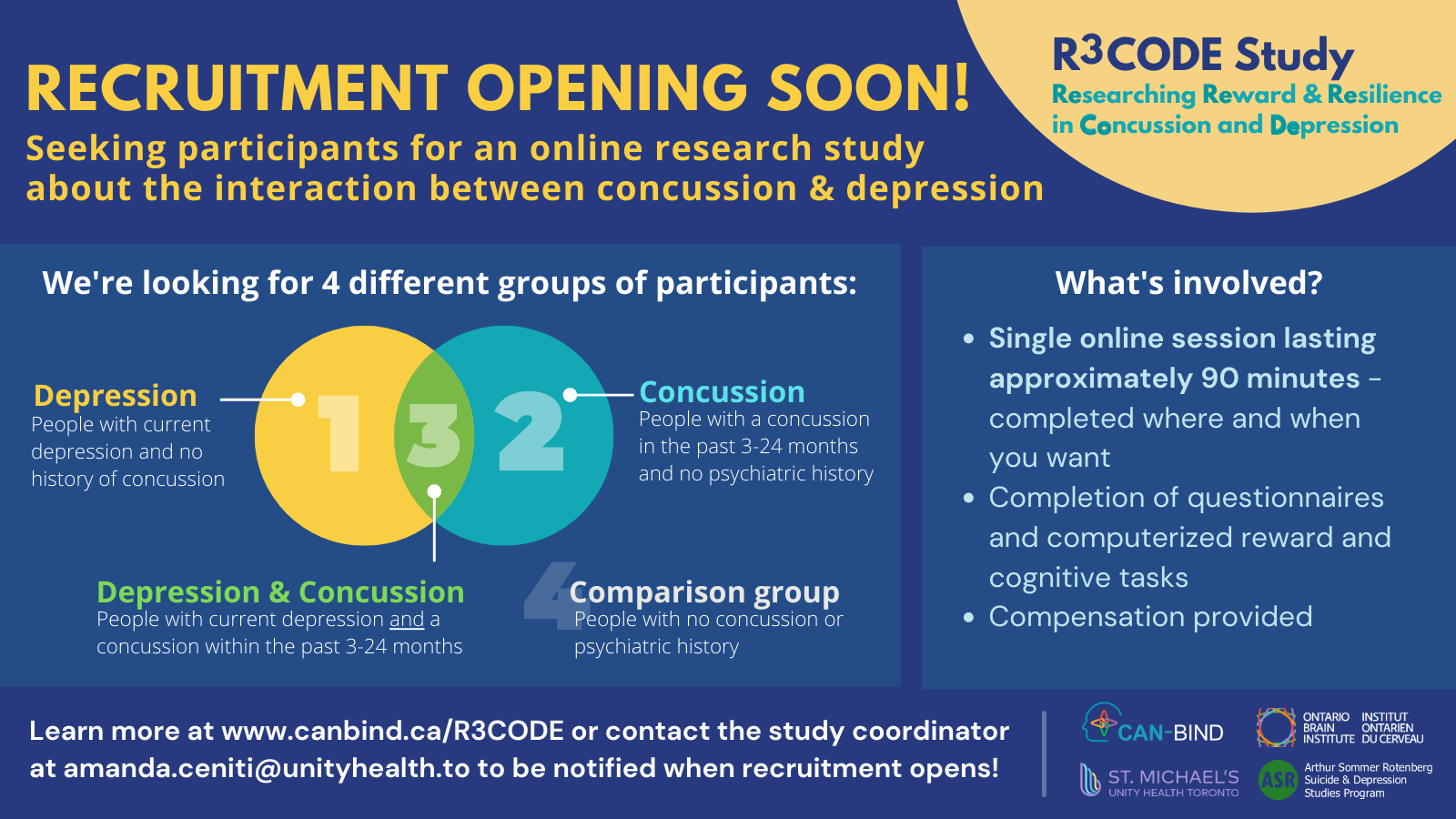 Coming Soon image for the R3CODE Study: Researching Reward and Resilience in Concussion and Depression